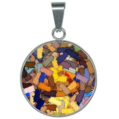 Texture Painting Plot Graffiti 25mm Round Necklace