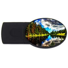 Color Lake Mountain Painting Usb Flash Drive Oval (4 Gb)