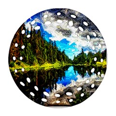 Color Lake Mountain Painting Round Filigree Ornament (two Sides)