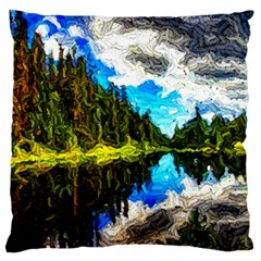 Color Lake Mountain Painting Large Cushion Case (one Side)
