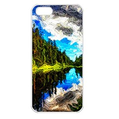Color Lake Mountain Painting Apple Iphone 5 Seamless Case (white)