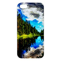 Color Lake Mountain Painting Apple Iphone 5 Premium Hardshell Case