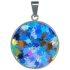 Color Colors Abstract Colorful 30mm Round Necklace by Pakrebo