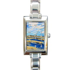 The Landscape Water Blue Painting Rectangle Italian Charm Watch by Pakrebo