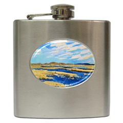 The Landscape Water Blue Painting Hip Flask (6 Oz)