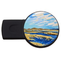 The Landscape Water Blue Painting Usb Flash Drive Round (4 Gb) by Pakrebo