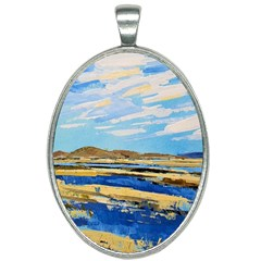 The Landscape Water Blue Painting Oval Necklace