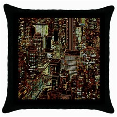 New York City Skyscrapers Throw Pillow Case (black)