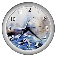 Art Painting Sea Storm Seagull Wall Clock (silver)