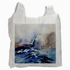 Art Painting Sea Storm Seagull Recycle Bag (one Side)