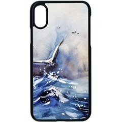Art Painting Sea Storm Seagull Apple Iphone X Seamless Case (black)