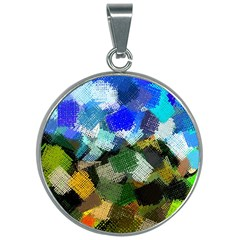 Texture Color Colors Network 30mm Round Necklace by Pakrebo