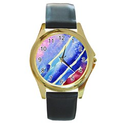 Painting Abstract Blue Pink Spots Round Gold Metal Watch