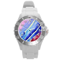Painting Abstract Blue Pink Spots Round Plastic Sport Watch (l) by Pakrebo