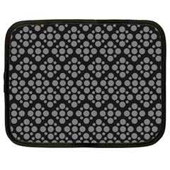 Floral Dot Series   Black And Grey Netbook Case (xxl)