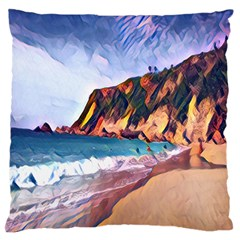 Borinquen Beach Puerto Rico Large Flano Cushion Case (one Side) by StarvinArtisan