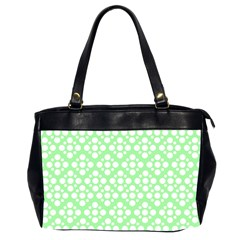 Floral Dot Series   Green And White Oversize Office Handbag (2 Sides)
