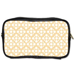 Floral Dot Series   Orange And White Toiletries Bag (two Sides)