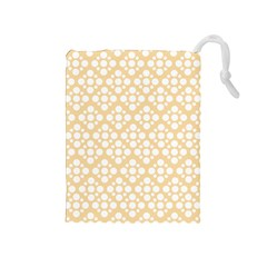 Floral Dot Series - Orange And White Drawstring Pouch (medium)