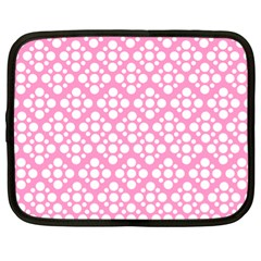 Floral Dot Series   Pink And White Netbook Case (xl) by TimelessFashion