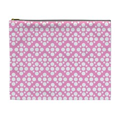 Floral Dot Series   Pink And White Cosmetic Bag (xl)