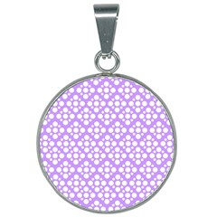 Floral Dot Series   Purple And White 25mm Round Necklace