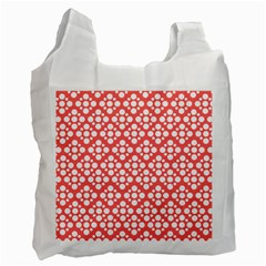 Floral Dot Series   Red And White Recycle Bag (one Side) by TimelessFashion