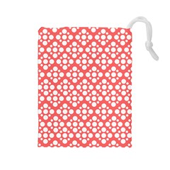 Floral Dot Series   Red And White Drawstring Pouch (large)