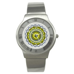 Mandala Pattern Round Ethnic Stainless Steel Watch