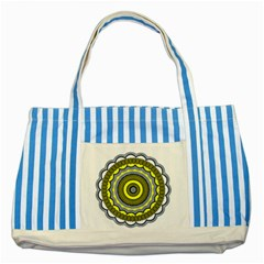 Mandala Pattern Round Ethnic Striped Blue Tote Bag