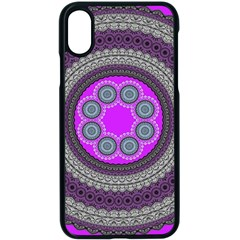 Round Pattern Ethnic Design Apple Iphone X Seamless Case (black) by Pakrebo