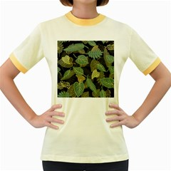 Autumn Fallen Leaves Dried Leaves Women s Fitted Ringer T Shirt