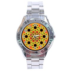 Fractal Art Design Pattern Stainless Steel Analogue Watch
