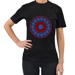 Mandala Pattern Round Ethnic Women s T Shirt (black) by Pakrebo