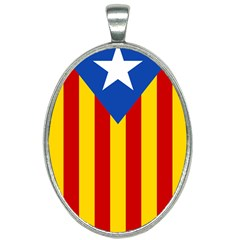 Blue Estelada Catalan Independence Flag Oval Necklace by abbeyz71