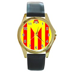 Red Estelada Catalan Independence Flag Round Gold Metal Watch by abbeyz71