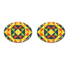 Background Geometric Color Cufflinks (oval)