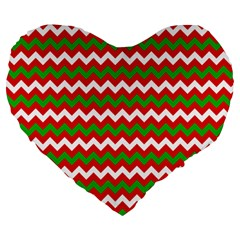 Christmas Paper Scrapbooking Pattern Large 19  Premium Flano Heart Shape Cushions