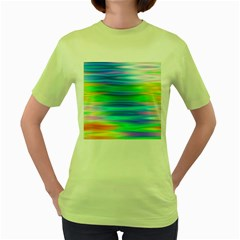 Wave Rainbow Bright Texture Women s Green T Shirt