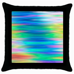 Wave Rainbow Bright Texture Throw Pillow Case (black)