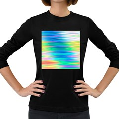 Wave Rainbow Bright Texture Women s Long Sleeve Dark T-shirt