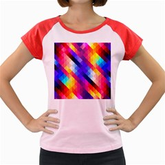 Abstract Background Colorful Pattern Women s Cap Sleeve T-shirt