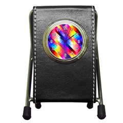 Abstract Background Colorful Pattern Pen Holder Desk Clock