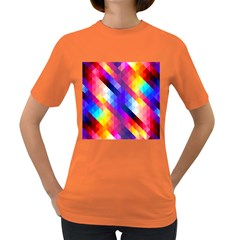 Abstract Background Colorful Pattern Women s Dark T Shirt
