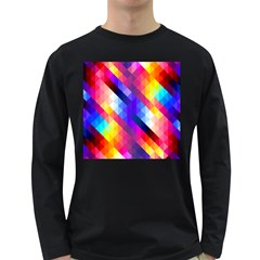Abstract Background Colorful Pattern Long Sleeve Dark T-shirt