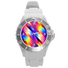 Abstract Background Colorful Pattern Round Plastic Sport Watch (l)