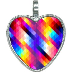 Abstract Background Colorful Pattern Heart Necklace
