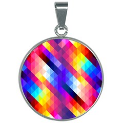 Abstract Background Colorful Pattern 30mm Round Necklace