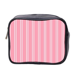 Nice Stripes  In Flamingo Pink Mini Toiletries Bag (two Sides)