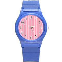 Nice Stripes  In Flamingo Pink Round Plastic Sport Watch (s)